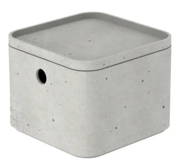 Curver Beton Box Cube With Lid XS 2l Grey