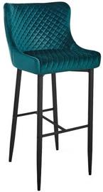 Bāra krēsls Signal Meble Hoker Colin B H-1 Velvet Green/Black, 1 gab.