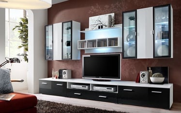 Dzīvojamās istabas mēbeļu komplekts ASM Quadro White/Black