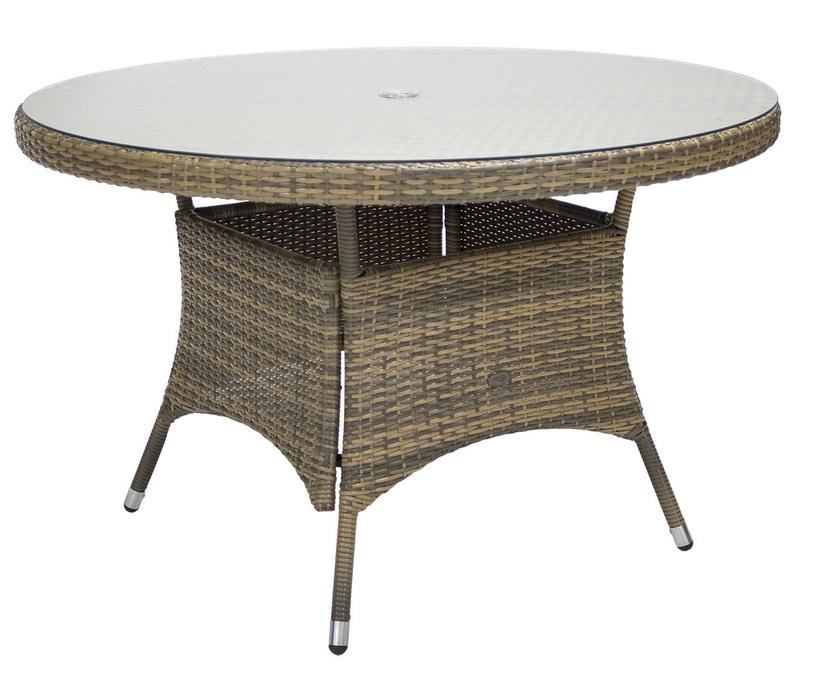 Dārza galds Home4you Wicker Cappuccino, 120 x 120 x 76 cm