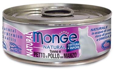 Mitrā kaķu barība (konservi) Monge Natural Tuna With Chicken & Beef 80g