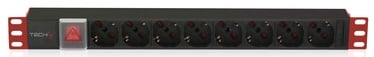 Pagarinātājs Techly PDU for 19 Rack 8 Schuko Sockets with Switch 1HE