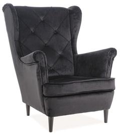 Atzveltnes krēsls Signal Meble Lady Velvet Black, 75x85x101 cm