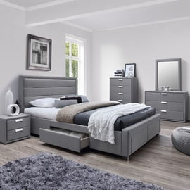 Home4you Caren Bed w/ Mattress Olympia Top 160x200cm Grey