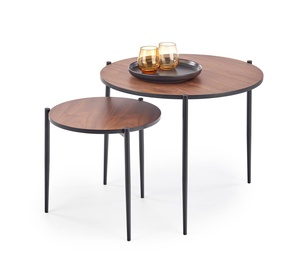 Halmar Guardia Round Coffee Tables Walnut/Black