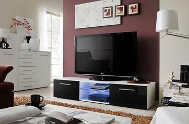 ТВ стол ASM Bono III Gloss, белый/черный, 1800x450x350 мм