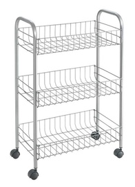 Metaltex Service Trolley Lugano 3 Stages 41x26x66cm Silver