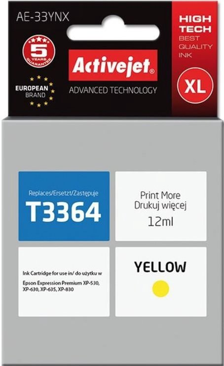 ActiveJet Cartridge AE-33YNX For Epson 12ml Yellow