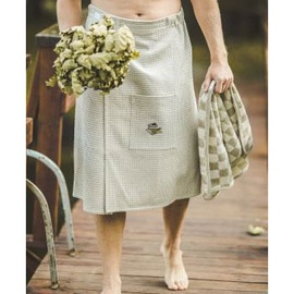 Embroidered sauna apron 75x145cm, brownish waffled