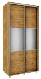 Bodzio Sliding Wardrobe w/Mirror 100x210x60cm Dark Soma Oak