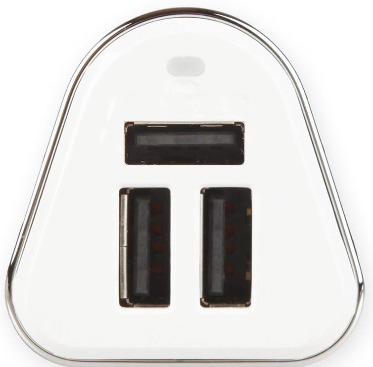 Whitenergy 3x USB Car Charger White