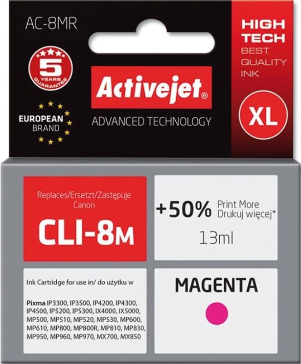 ActiveJet Cartridge AC-8MR For Canon 13ml Magenta