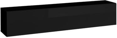 Sienas plaukts ASM Blox SW24, melna, 175x32x35 cm