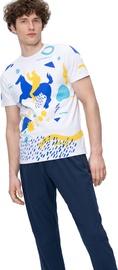 Audimas Mens Casual Shirt White Blue Printed L