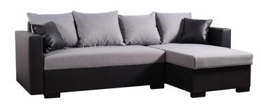 Stūra dīvāns Platan Karol 02 Grey/Black, 230 x 140 x 80 cm