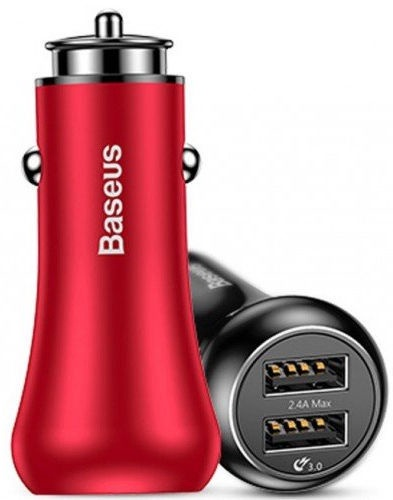 Baseus Gentleman Fast Dual USB Car Charger 4.8A Red