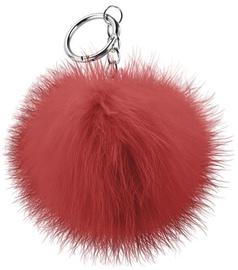 Beeyo Soft Fluffy Ring The Pompom & Smartphone Finger Holder Red/Silver