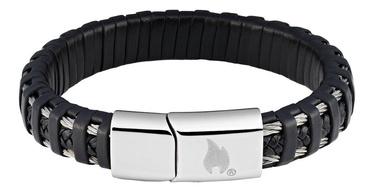 Aproce Zippo Steel Braided Leather Bracelet 20cm