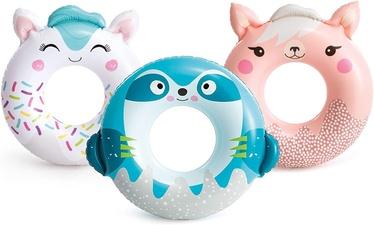 Надувное колесо Intex Animal Tube, синий/белый/розовый, 840 мм