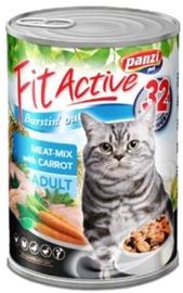 Konservi pieaugušiem kaķiem Panzi Fit Active, ar gaļas izlasi un burkāniem, 415 g