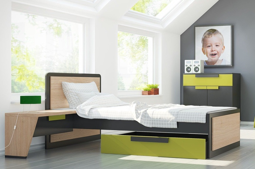 Szynaka Meble Wow 15 Drawer For Bed Graphite/Green