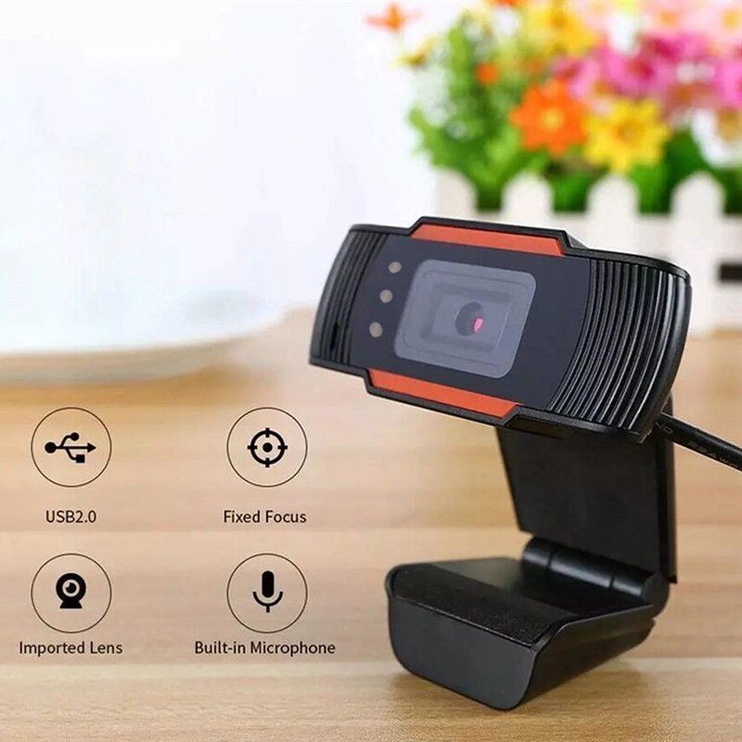 Roger A7 Webcam HD 720P With Microphone Black