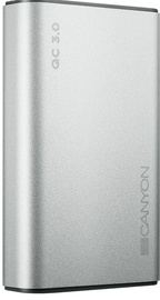Ārējs akumulators Canyon CND-TPBQC10S Silver, 10000 mAh