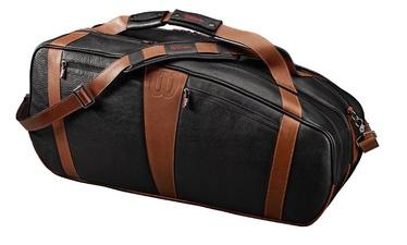 Спортивная сумка Wilson Leather 6 Racket Bag, коричневый/черный