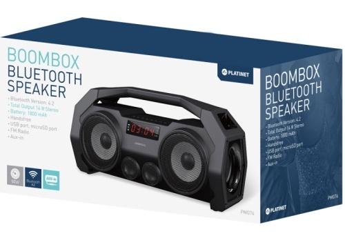 Bezvadu skaļrunis Platinet Boombox PMG76B Black, 14 W