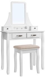 Столик-косметичка Songmics, белый, 80x40x137.5 см, с зеркалом