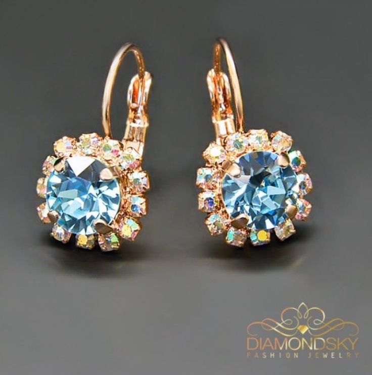 Diamond Sky Earrings With Crystals From Swarowski Magnificence II Aquamarine Blue
