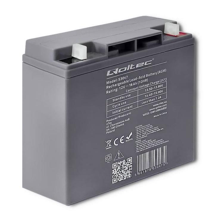 Qoltec AGM Battery 12V 18Ah Max 270A
