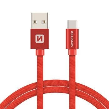 Swissten Textile USB To USB Type-C 3.1 Charge Cable 2m Red