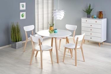 Обеденный стол Halmar Ruben, белый/бук, 1020 - 1420x1020x736мм