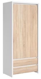 Skapis Black Red White Kaspian White&Sonoma Oak, 90x55.5x200.5 cm