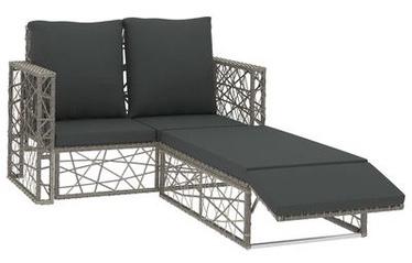 Садовый диван VLX Poly Rattan Lounge Set, серый, 123 см x 65 см x 72 см