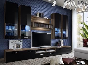 Dzīvojamās istabas mēbeļu komplekts ASM Dorade Black/Plum