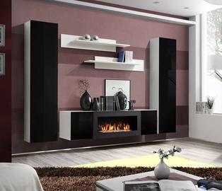 Dzīvojamās istabas mēbeļu komplekts ASM Fly M1 Black/White