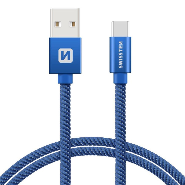 Swissten Textile USB To USB Type-C 3.1 Cable 1.2m Blue