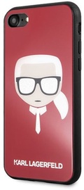 Karl Lagerfeld Iconic Glitter Karls Head Back Case For Apple iPhone X/XS Red