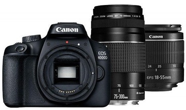 Spoguļkamera Canon EOS 4000D EF-S 18-55mm DC III + EF 75-300mm III