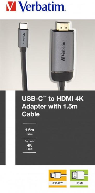Verbatim USB-C 3.1 To HDMI 4K Adapter Cable 1.5m Black/Silver