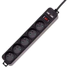 Akyga Surge Protector 5-Outlet 1.5m Black