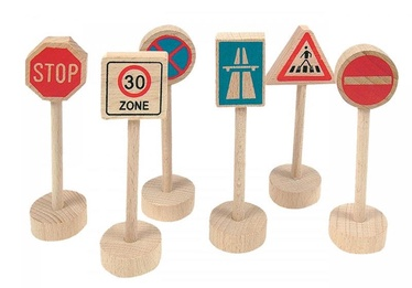 Woodyland Wooden Traffic Signs 6pcs 90575