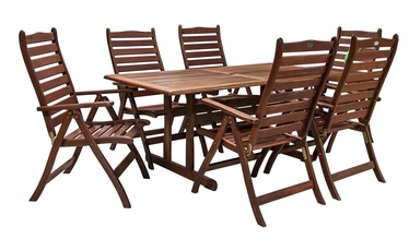 Home4you Venice Garden Table And 6 Chairs Set Meranti