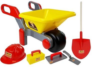 Smilšu kastes rotaļlietu komplekts Polesie Wheelbarrow With Accessories, sarkana/dzeltena