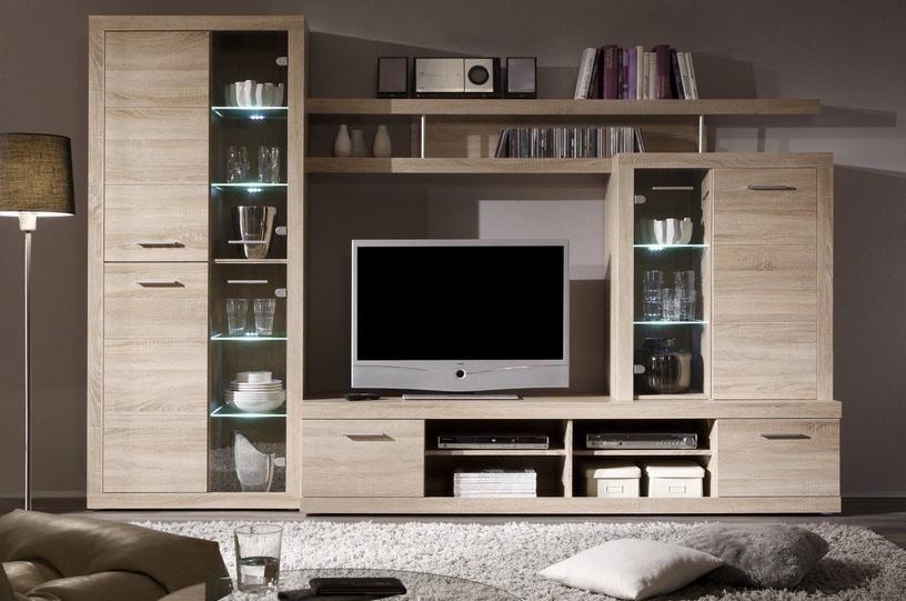 Dzīvojamās istabas mēbeļu komplekts Black Red White Cancan 4 Sonoma Oak