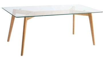 Kafijas galdiņš Home4you Helena Transparent/Wood, 1200x600x400 mm