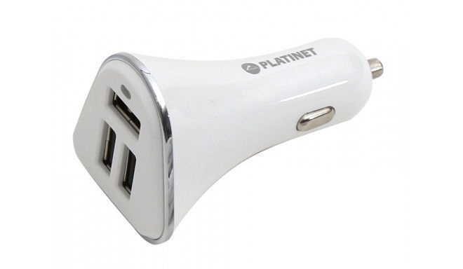 Platinet 3x USB IC Car Charger + Micro USB Cable 1m White