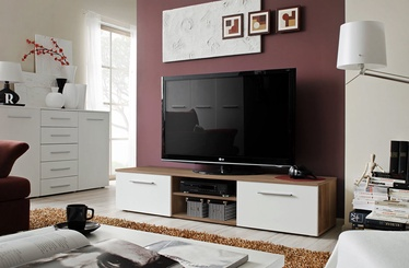 TV galds ASM Bono II Plum/White Gloss, 1800x450x350 mm